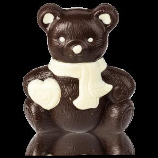 Ведмедик з сердечком з чорного шоколаду, декорований