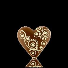 Серце середнє з молочного шоколаду з декором