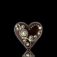 Серце середнє з чорного шоколаду з декором