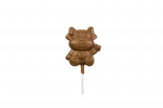 Smiling Dog lollipop, milk chocolate