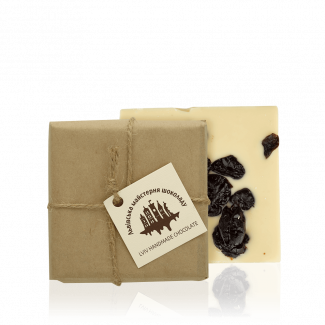 White chocolate with dried cherry, 100 g